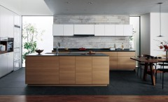 PanasonicのLクラス キッチン Ⅱ型壁付け+セミフロート アイランドプラン