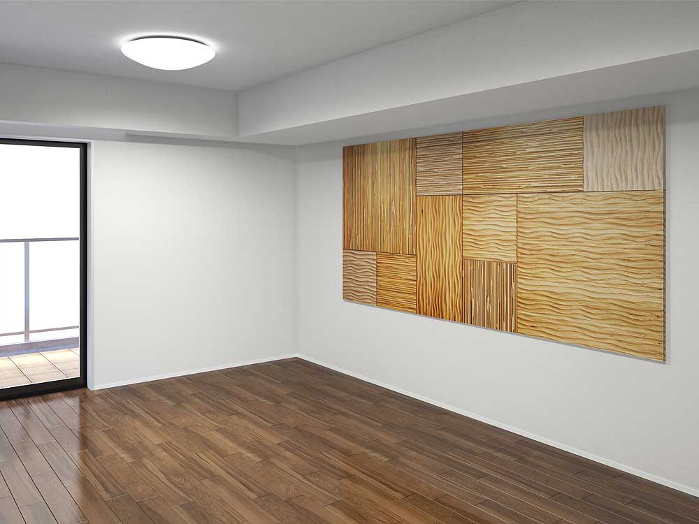 マンションの洋室にアクセントウォールを設置する完成イメージ図