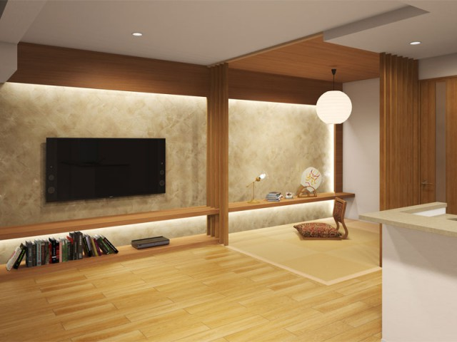 大阪の新築マンションのリビングを和モダンにデザインしました
